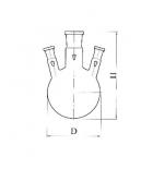 колба круглодонная с 3-мя горловинами под углом КГУ-3-1-250-29-14-14 со шлифом