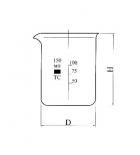 стакан низкий Н-1-50 ТС  с делением с носиком